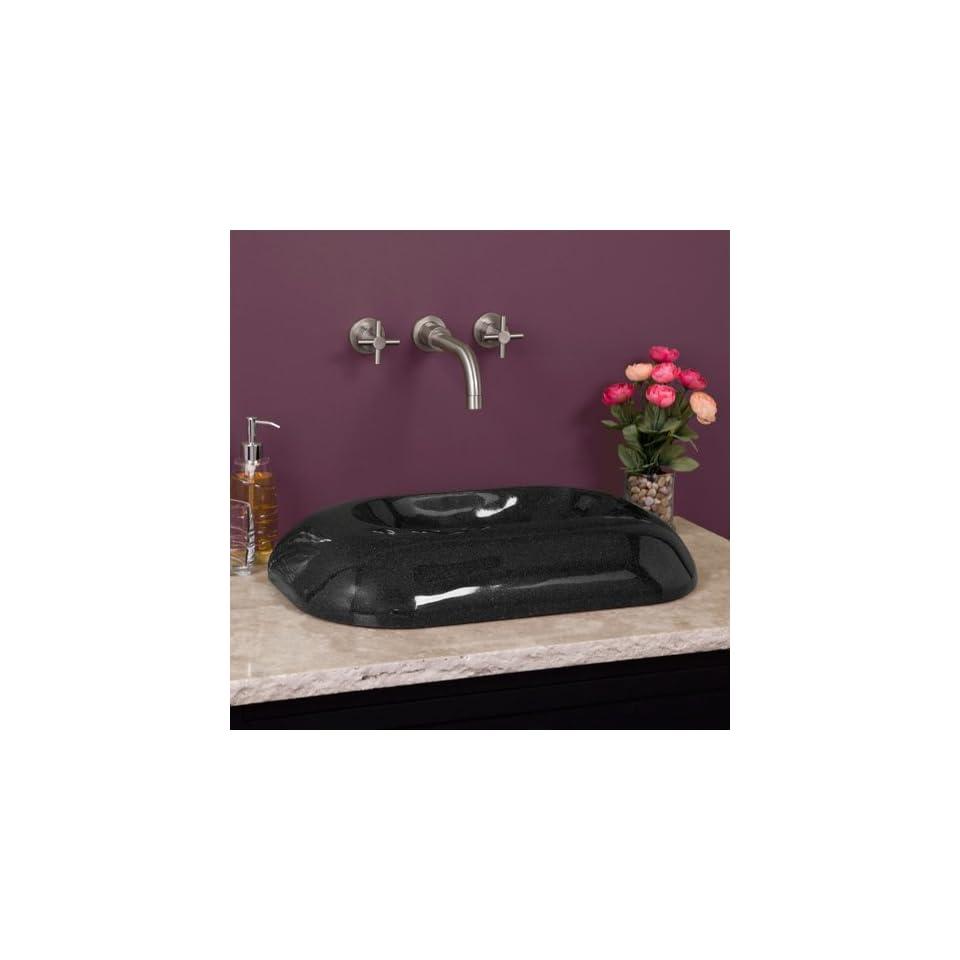 Granite Arched Rectangular Vessel Sink   Black Granite
