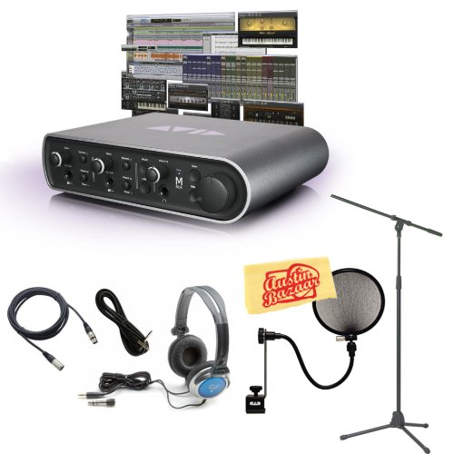 Avid Mbox 3 Audio Interface And Pro Tools Express Bundle With Mic Stand, Pop Filter, Xlr Cable, Instrument Cable, Stereo Headphones, And Polishing Cloth