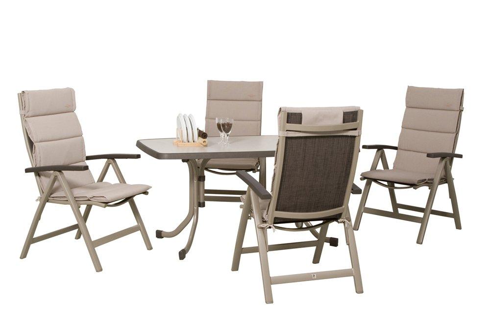 Sieger Set Montesa champagner / mocca bestehend aus: Gartentisch, 4 Klappsessel Montesa  champagner / mocca, 4 Sesselauflage
