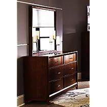 Roundhill Furniture Homeville 213 Wood Dresser and Mirror, Cherry Finish