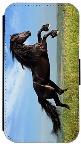 Flip Cover für Samsung Galaxy S6 G920 Design 370 Pferd Hengst Wiese Blau Braun Grün Hülle aus Kunst-Leder Handytasche Etui Schutzhülle Case Wallet Buchflip Vorderseite Bedruckt mit Bild Rückseite Schwarz (370)