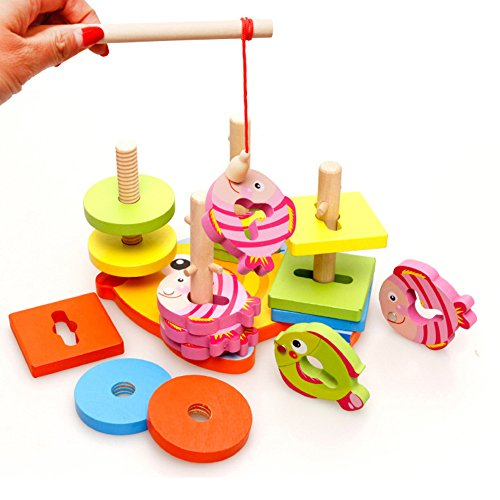 iPuzzle Shape Color Stacking Sorter and Magnetic Wooden Fishing Game Set Toys for Kids Toddlers (Magnetic Fishing Fun compare prices)