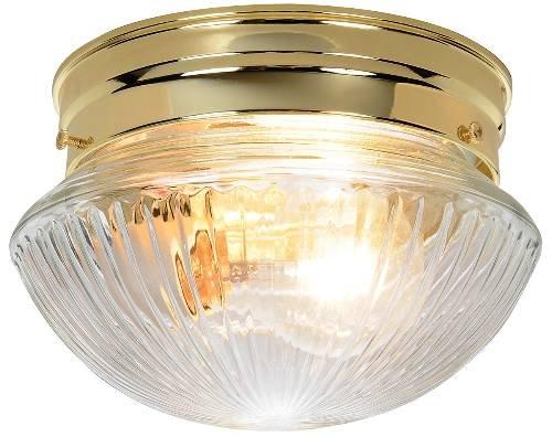 ROYAL COVE Ribbed Mushroom Shaped Ceiling Fixture, White, 8 In., Uses (1) 60-watt Incandescent Medium Base lamp-671353