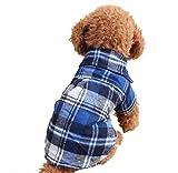 犬服 かわいい ペット ウェア チェック柄 シャツ 着せやすい 前ボタン 暖かい 小型犬 (S, 青)