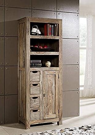 LEGNO MASSELLO SHEESHAM Armadio palissandro mobili in legno massello naturale grigio #081