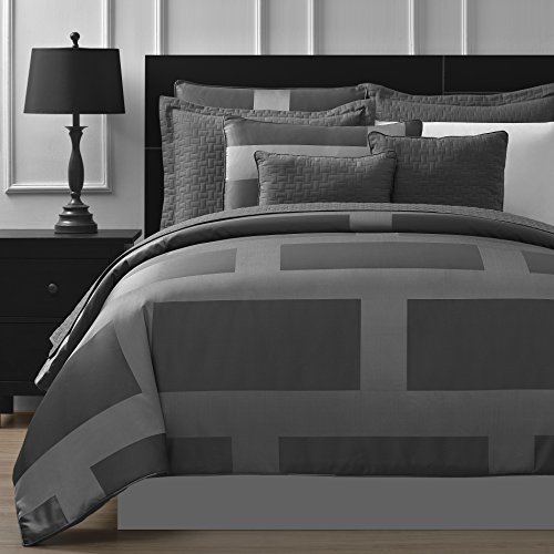 Great Deal! Comfy Bedding Frame Jacquard Microfiber 5-Piece Comforter Set (Queen, Gray)