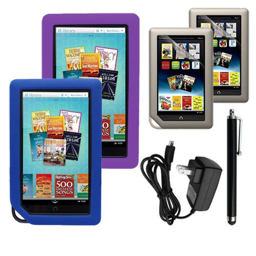 Skque 2 PACKS Clear Screen Protector + Purple and Blue Soft Silicone Cover Case + Touch Screen Tablet/Smart Phone Stylus Pen(Black Body) + 2000Mah Wall Charger for Barnes&Noble Nook Color Ebook Reader