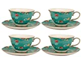 Gracie China Shabby Rose Porcelain 7-Ounce Tea Cup and Saucer Set of 4, Shabby Rose Teal