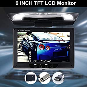 Leaftree DC12V 9 Inches Beige Screen Flip Down Roof Mount Monitor Overhead TFT LCD Car DVD Monitor