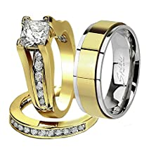 buy His & Hers 3 Pcs Gold Plated Men'S Matching Band Women'S Princess Cut Stainless Steel Wedding Ring Set