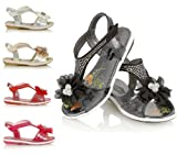 NEW GIRLS KIDS VELCRO DIAMANTE CASUAL PROM WEDDING SHOES PARTY SANDALS