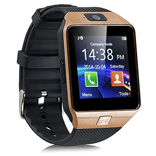 ApeCases iphone 6 Plus Bluetooth Smart Watch Phone With Camera and Sim Card Support With Apps like Facebook and WhatsApp Touch Screen Multilanguage Android/IOS Mobile Phone Wrist Watch Phone with activity trackers and fitness band features compatible with Samsung,IPhone,HTC,Moto,Intex,Vivo,MI redmi note 3,One Plus three,Android IOS Phones