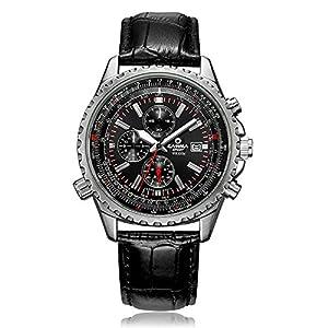 CASIMA Men's Sport Chronograph Calendar Display Leather Band Quartz Wrist Watches 8882-SL7