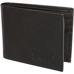 Access Denied SEGURO Mens RFID Blocking Bi-Fold Leather Wallet (Black)
