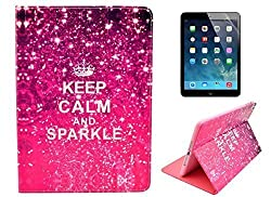Welity Retro Keep Calm and Sparkle Design Pu Leather with wallet Case Cover For Apple iPad mini/iPad mini2