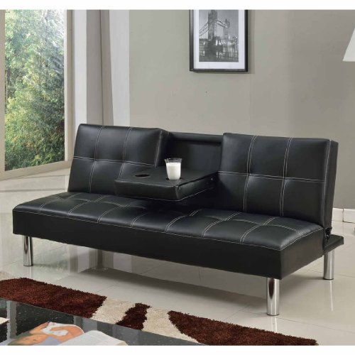 CINEMO 3 SEATER SOFA BED FAUX LEATHER w FOLD DOWN TABLE CHROME LEGS FUTON (Black)