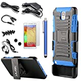 Pandamimi ULAK(TM) Slide Belt Clip Holster Kick Stand Hard Cover Case for Samsung Galaxy Note 3 Note III N9000 with 9 Accessories - Screen Protector/Cleaning cloth/Application/Headphone/USB Cable/Car Charger/Touch Stylus/Earphone Splitter Cable (1 in 2 out)/Fishbone Shape Earphone Cord Winder Newest 11 in 1 (Navy Blue & Black)