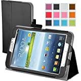 Maxboost Leather Case for Samsung Galaxy Tab 3 7.0 Inch P3200 / P3210 Black - Book Folio Style with Built-in Stand, Wallet Card Holder, Stylus Holder, Hand Holding Strap, Memory Card Holder
