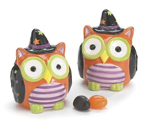 Whimsical Halloween Owl Salt and Pepper Shaker Set Adorable Halloween Decor