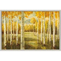 Aspens by Danhui Nai Autumn Landscape Art Print Framed