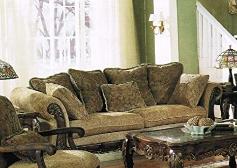 Bordeaux Sofa in Sage Floral Chenille Fabric Cover by Acme - 5600