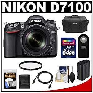 Nikon D7100 Digital SLR Camera & 18-105mm VR DX AF-S Zoom Lens (Black) with 64GB Card + Battery + Case + Remote + Filter + HDMI Cable + Accessory Kit