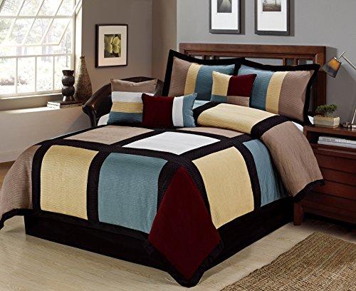 Bednlinens 7 piece brandy corduroy big square patchwork comforter set queen burgundy blue white - Corduroy bedspreads ...