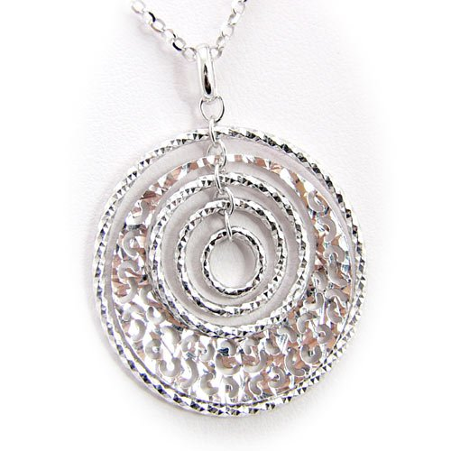Rhodium Plated Sterling Silver Hammered Concentric Rings Laser Cut Design Cable Chain Necklace Italy