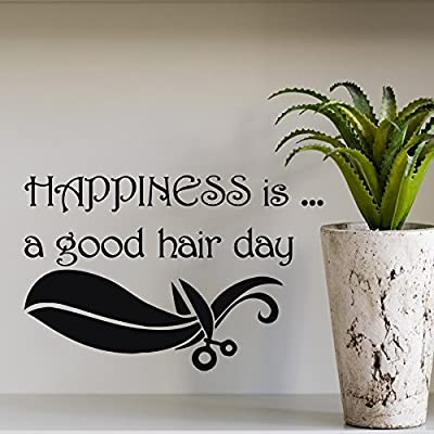 Wall Decal Quote Happiness Is A Good Hair Day Hairdressing Salon Scissors Decal Home Vinyl Sticker Art
