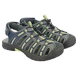 Khombu Girls Althetic Closed Toe Sandals (1, Blue Gray Lime - boyz)
