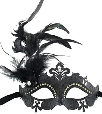 Glitter Mardi Gras Masquerade Costume Eye Mask with Feathers and Rhinestones