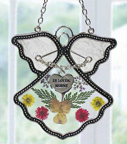 Angel Suncatcher – In Loving Memory Angel – Pressed Flowers Stained Glass Angel with Memorial Heart Charm – In Memory of Loved Ones – Memorial Keepsake