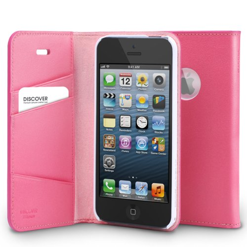 Great Sale RINGKE DISCOVER iPhone 5 / 5S Logo Cut-Out Flip Case [PINK] Best Selling Premium Genuine Leather Diary Case Cover ID / Card Slot Flip Cover Wallet Case for Apple iPhone 5S / 5