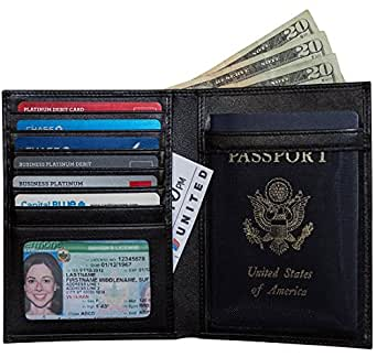 RFID-Blocking Leather Passport Holder & Travel Wallet by Travel Navigator - Black