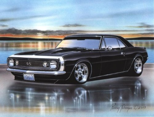 1967 Chevy Camaro SS Coupe Muscle Car Art Print Black 11x14