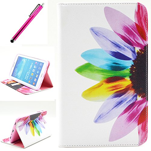 Click to buy Galaxy Tab 3 7.0 Case, Yummi Premium Flip New Wallet Leather Case [With Credit Card Slot] STAND Case Cover with Magnetic Closure Design For Samsung Galaxy Tab 3 7.0 Inch P3200 + One Stylus [Flower] - From only $43.95