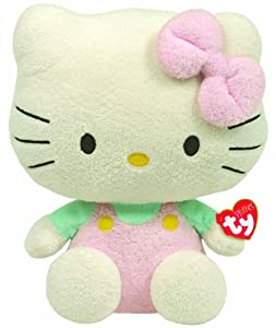 Ty Pluffies Hello Kitty - Pink Overalls With Mint Shirt