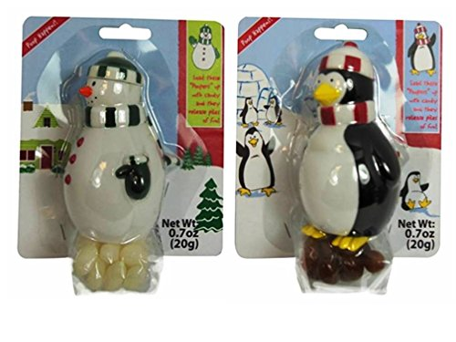 Holiday Fun Pooping Candy Dispensers Novelty Gift Variety Bundle: (1) Pooping Penguin Candy Dispenser, and (1) Pooping Snowman Candy Dispenser, .7 Oz. Ea. (Jelly Bean Pooping compare prices)