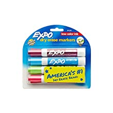 Expo Low Odor Chisel Tip Dry Erase Markers, 4 Colored Markers(81029)