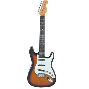 Lightahead Electronic Guitar with Vibrant Sounds, 26 inch Guitar With Preset Music Fun Junior Guitar with Microphone for Kids & beginners Great Gift (Brown) (Color: Brown)