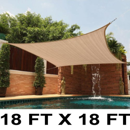 18 Ft X 18 Ft Sun Sail Shade Square Canopy Tan18 Ft X 18 Ft Sun Sail Shade Square Canopy Tan