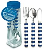 Pencil Grip Gripable Comfortable Cutlery, Fork, Knife, Spoon with Gripable Handles, Blue and White Handles, TPG-640B