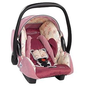 Storchenmühle 5513.1127.66 - Twin 0+ - Autokindersitz / Babyschale Gruppe 0+ (bis 13 kg) ab der Geburt bis ca. 15 Monate, Farbe pink-flower
