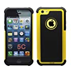 Cocoz®yellow/black Hard Soft High Impact Armor Case Combo Cover for Apple Iphone 5c At & T Verizon Sprint Dust Stylus (Yellow/black)-fs 334