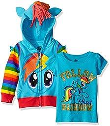 My Little Pony Big Girls\' Rainbow Dash Hoodie & Tee, Blue, 8-10/Medium