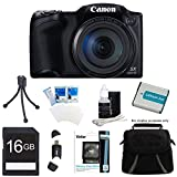 Canon Powershot SX400 IS Black Digital Camera 16GB Bundle Includes: Powershot SX400 IS Digital Camera with 16MP 30x Optical Zoom 720p HD Video - Black, Carrying case, 16GB Memory Card, Spare Battery, Mini Tripod, Card Reader, & more