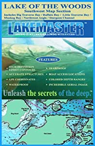 Lakemaster LPLOWSWP09-07 Paper Map Lake of the Woods - SW