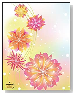 Pink Spring Flowers Notebook - Beautiful pink and yellow flowers against a colorful pastel background provide a sparkling Spring-like feel to the cover of this blank and college ruled notebook with blank pages on the left and lined pages on the right.