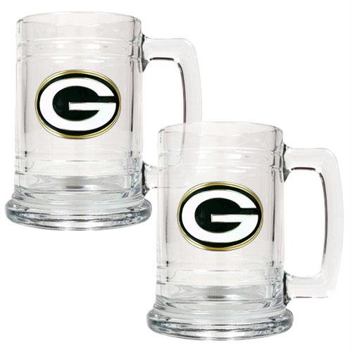 NFL Green Bay Packers Two Piece 15-Ounce Glass Tankard Set - Primary Logo (Green Bay Packer Beer Glass compare prices)