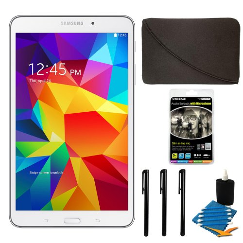 "Samsung Galaxy Tab 4 White 16Gb 8"" Tablet And Case Bundle - Includes Tablet, 10"" Sleeve For Tablets, Audio Earbuds With Microphone, 3 Stylus Pens With Pocket Clip, And 3Pc. Lens Cleaning Kit"